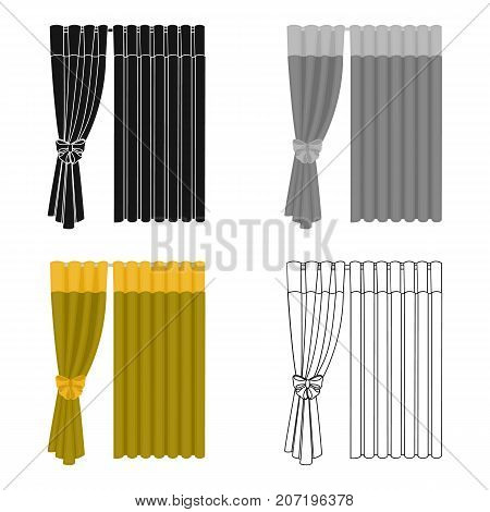 Curtains, single icon in cartoon style.Curtains, vector symbol stock illustration .