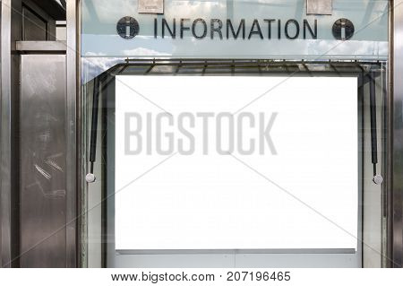 Blank White Information Sign Transportation Tourist Travel System Isolated