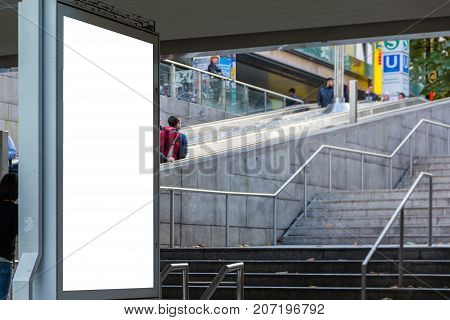 Subway Ad Space Blank Isolated White Copy Space City Urban Environment Billboard
