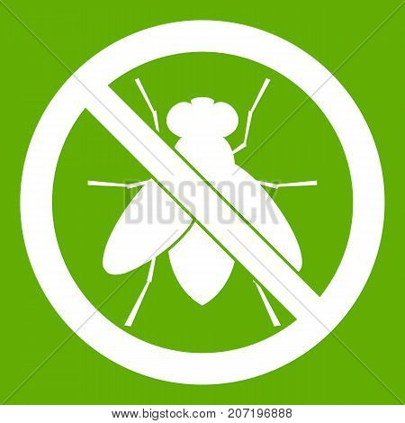 No fly sign icon white isolated on green background. Vector illustration