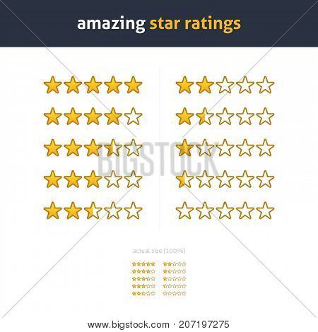 Star rating. Quality gold stars vector set. Different ratings. One to five stars customer review. Half and whole stars. Isolated sets. EPS. App, website, reviews, shopping, ranking elements.