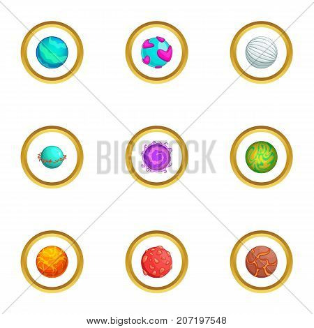 Galaxy planet icons set. Cartoon style set of 9 galaxy planet vector icons for web design