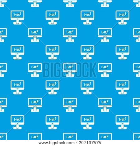 Monitor with Einstein formula pattern repeat seamless in blue color for any design. Vector geometric illustration
