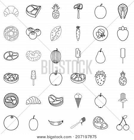 Breakfast icons set. Outline style of 36 breakfast vector icons for web isolated on white background
