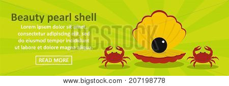 Beauty pearl shell banner horizontal concept. Flat illustration of beauty pearl shell banner horizontal vector concept for web design