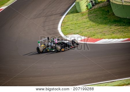 Vallelunga, Italy September 24 2017. Single Seater Formula Driver Car In Action On Turn