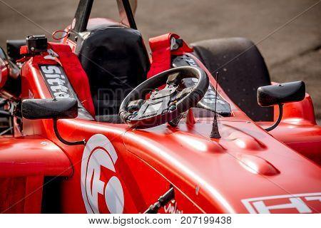 Vallelunga, Italy September 24 2017. Cockpit Of Single Seater Formula Racing Car Closeup