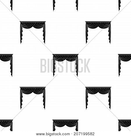 Curtains with drapery on the cornice.Curtains single icon in black style vector symbol stock illustration .