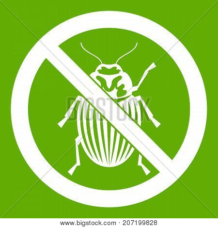 No potato beetle sign icon white isolated on green background. Vector illustration
