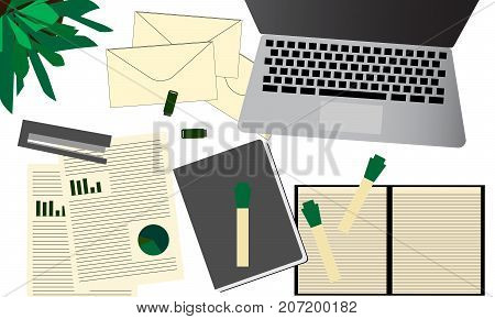 Modern white office desk table with laptop, business documents, envelope, pen, green plant and other supplies. Top view financial analysis concept illustration vector.