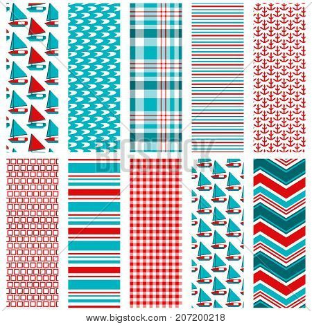 10 seamless nautical patterns for digital paper, scrapbooking, paper crafts, backgrounds, borders and more.