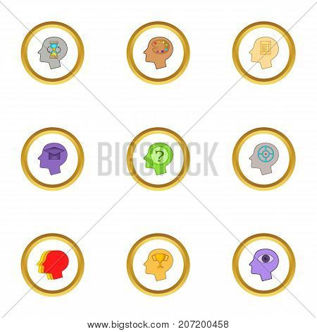 Head with gear icons set. Cartoon style set of 9 head with gear vector icons for web design