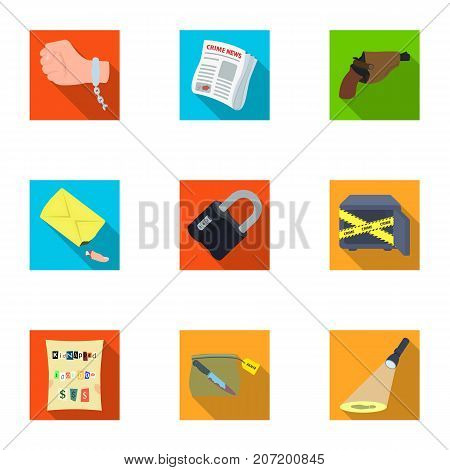A detective, a pistol in a holster, a police badge, a magnifying glass and a fingerprint, criminal news and other attributes. Detective and crime set collection icons in flat style vector symbol stock illustration .