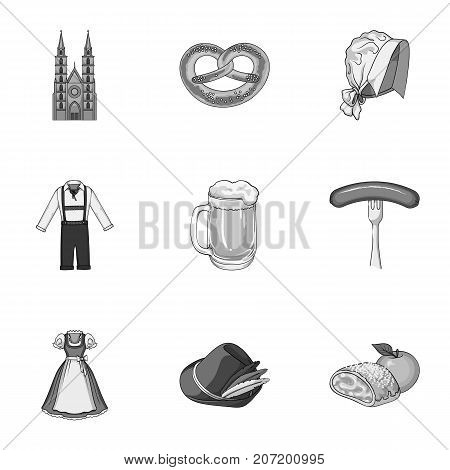 Cooking, textiles, tourism and other  icon in monochrome style.Residential, national, attributes, icons in set collection