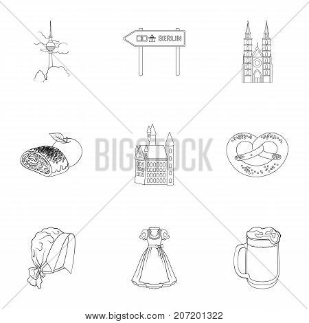 Cooking, textiles, tourism and other  icon in outline style.Residential, national, attributes, icons in set collection