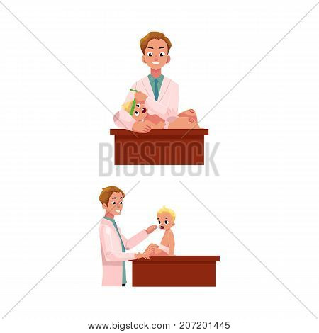 Man doctor, pediatrician checking baby, infant thoat and measuring head size, cartoon vector illustration isolated on white background. Doctor, pediatrician doing regular medical baby exam