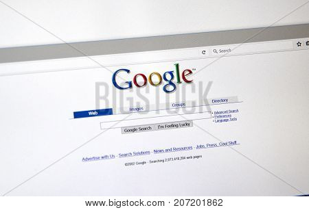 MONTREAL CANADA - OCTOBER 2 2017: Google 2002 year old style search page. Google is a web search engine developed by Google.