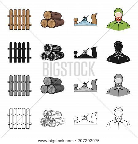Woodworking, enterprise, ecology and other  icon in cartoon style. Man, logger, plane icons in set collection.