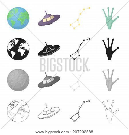 Universe, science, research and other  icon in cartoon style. Hand, unknown, apparatus, icons in set collection