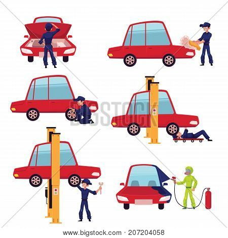 Set of auto mechanic, car service worker, technician fixing a car, cartoon vector illustration isolated on white background. Auto mechanic repairing, cleaning, dying a car, car maintenance concept