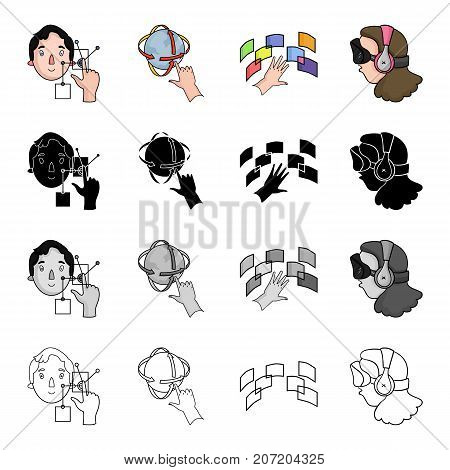 Television, cinema, technology and other  icon in cartoon style.Virtual, real, 3G, icons in set collection