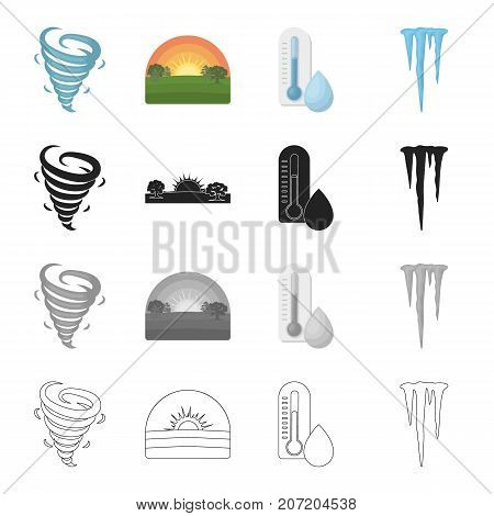 Nature, time, year and other  icon in cartoon style. Icicle, ice, winter, icons in set collection