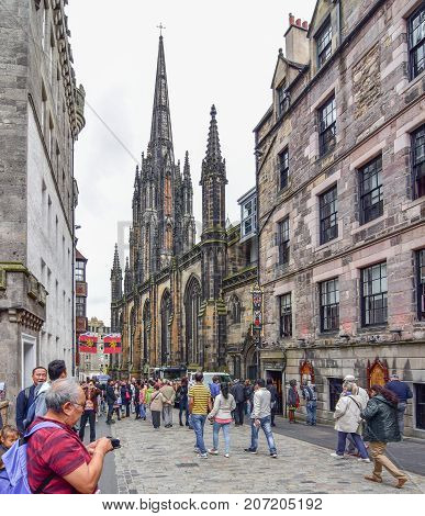 Royal Mile In The Old City Of Edinburgh, Scotland