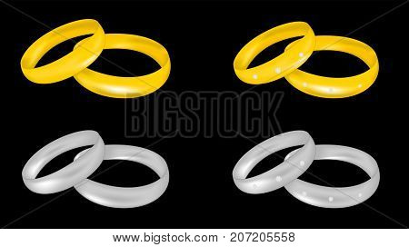 Gold and platinum wedding rings with diamonds