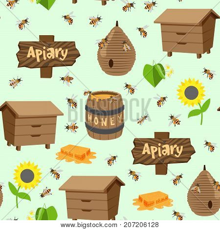 Apiary vector illustrations beekeeping honey jar natural organic sweet insect honied beeswax honeyed seamless pattern background.