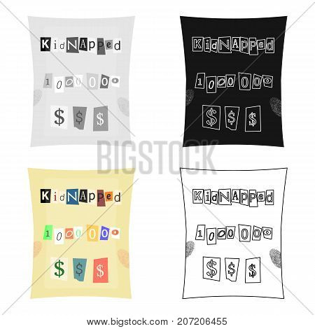 Abduction and ransom, criminal demand on the sheet. Kidnapping. single icon in cartoon style vector symbol stock illustration .