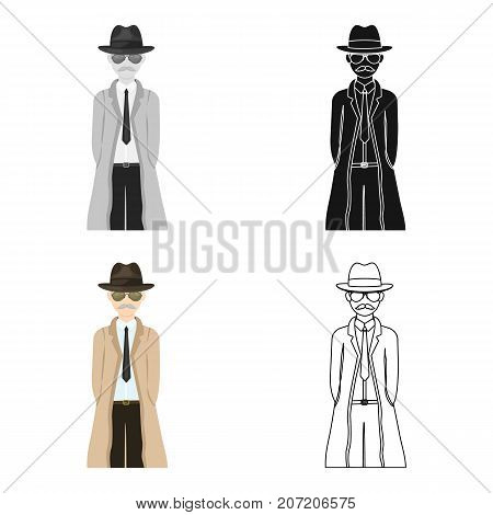 Appearance of the detective. Man detective in a hat and raincoat single icon in cartoon style vector symbol stock illustration .