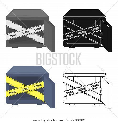 Opened safe with a protective tape. Creme, metal safe single icon in cartoon style vector symbol stock illustration .