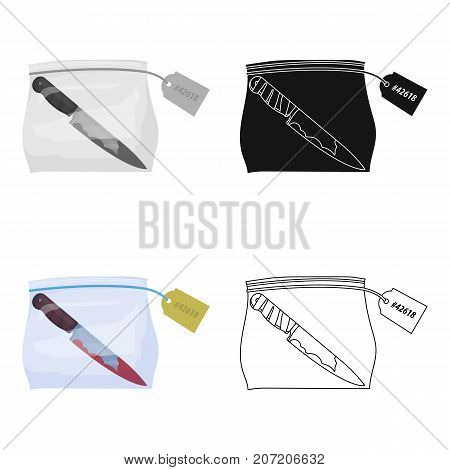 Bloodied knife in the package with a tag. Knife, criminal things single icon in cartoon style vector symbol stock illustration .