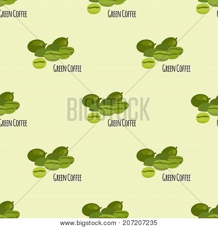 Green coffee beans seamless pattern background vector illustartion.