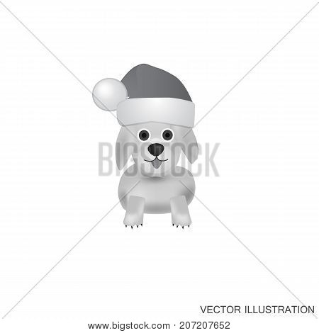 Illustration with dog. White-black background with nice dog. Funny cartoon character dog.Vector illustration.