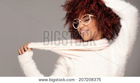 Happy Woman With Afro Hairstyle Smiling.