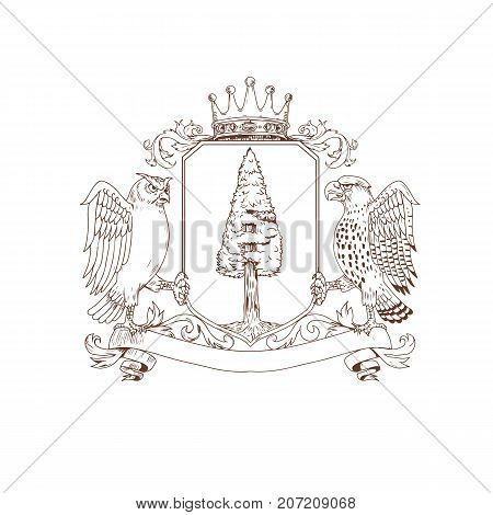 Drawing sketch style illustration of coat of arms showing an Owl and Hawk as supporters on side with Redwood tree and nest inisde crest and Crown on top and ribbon banner scroll below on isolated background.