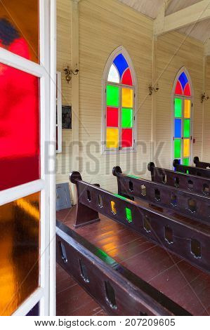 Panama City August 2016: In August many tourists visit the Mi Pueblito Village Museum church where the reconstructions of the historic buildings of the city and Panama ethnicities are located to discover customs and traditionss of Panamanian culture