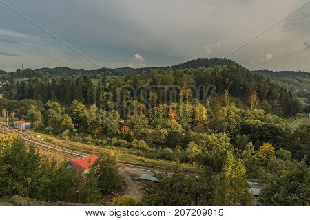 Becov nad Teplou town in west Bohemia in autumn evening