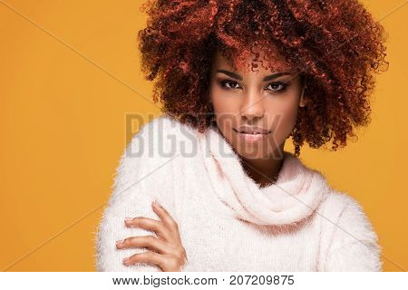Portrait Of Beautiful Girl With Afro Hairstyle.