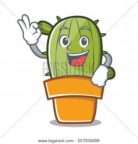Okay cute cactus character cartoon vector illustration