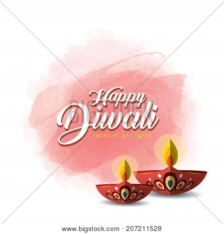 Diwali or Deepavali greetings template with beautiful burning diwali diya (india oil lamp) on red watercolor background. Festival of Lights celebration vector illustration.