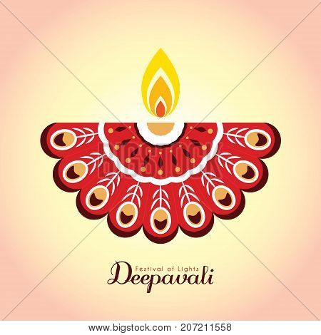 Diwali or Deepavali symbol or icon. Diwali diya (india oil lamp). Festival of Lights celebration vector illustration.