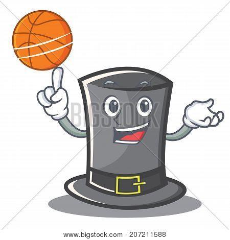 Playing basketball Thanksgiving hat character cartoon vector illustration