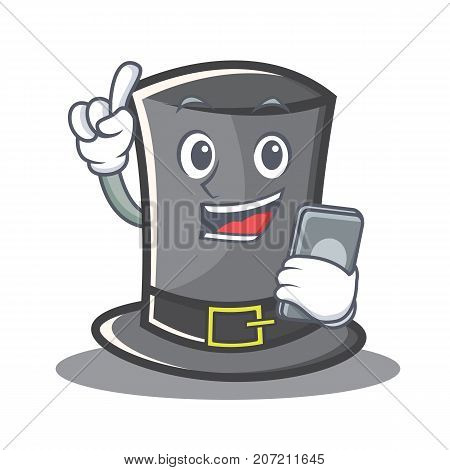 With phone Thanksgiving hat character cartoon vector illustration