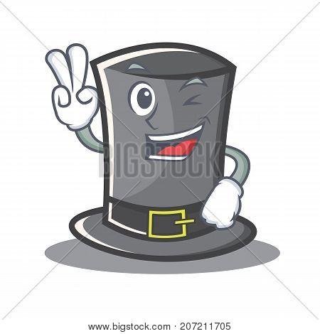 Two finger Thanksgiving hat character cartoon vector illustration