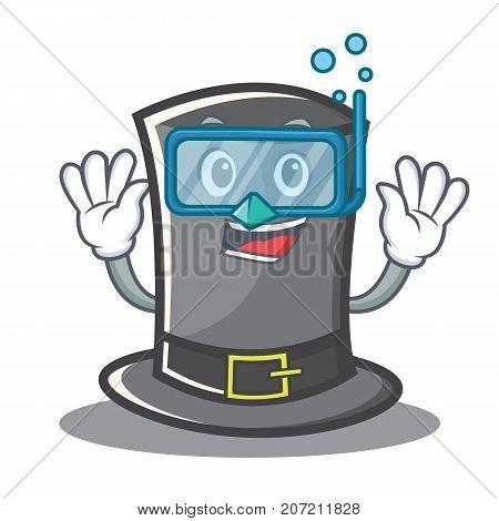 Diving Thanksgiving hat character cartoon vector illustration