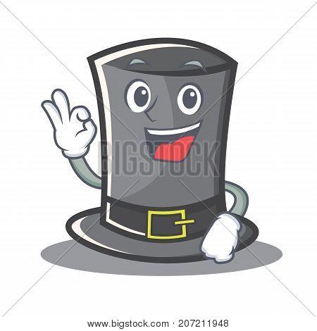 Okay Thanksgiving hat character cartoon vector illustration
