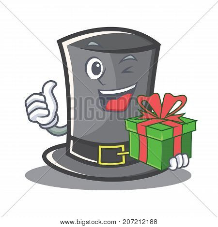 With gift Thanksgiving hat character cartoon vector illustration