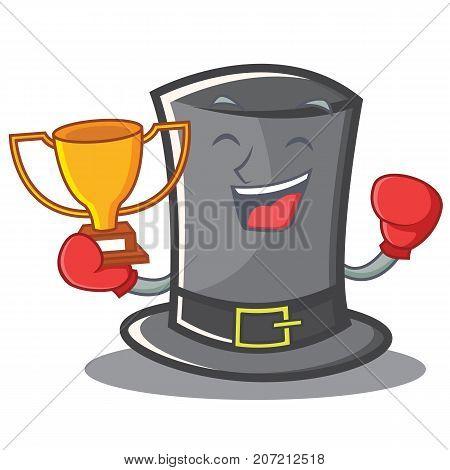Boxing Thanksgiving hat character cartoon vector illustration